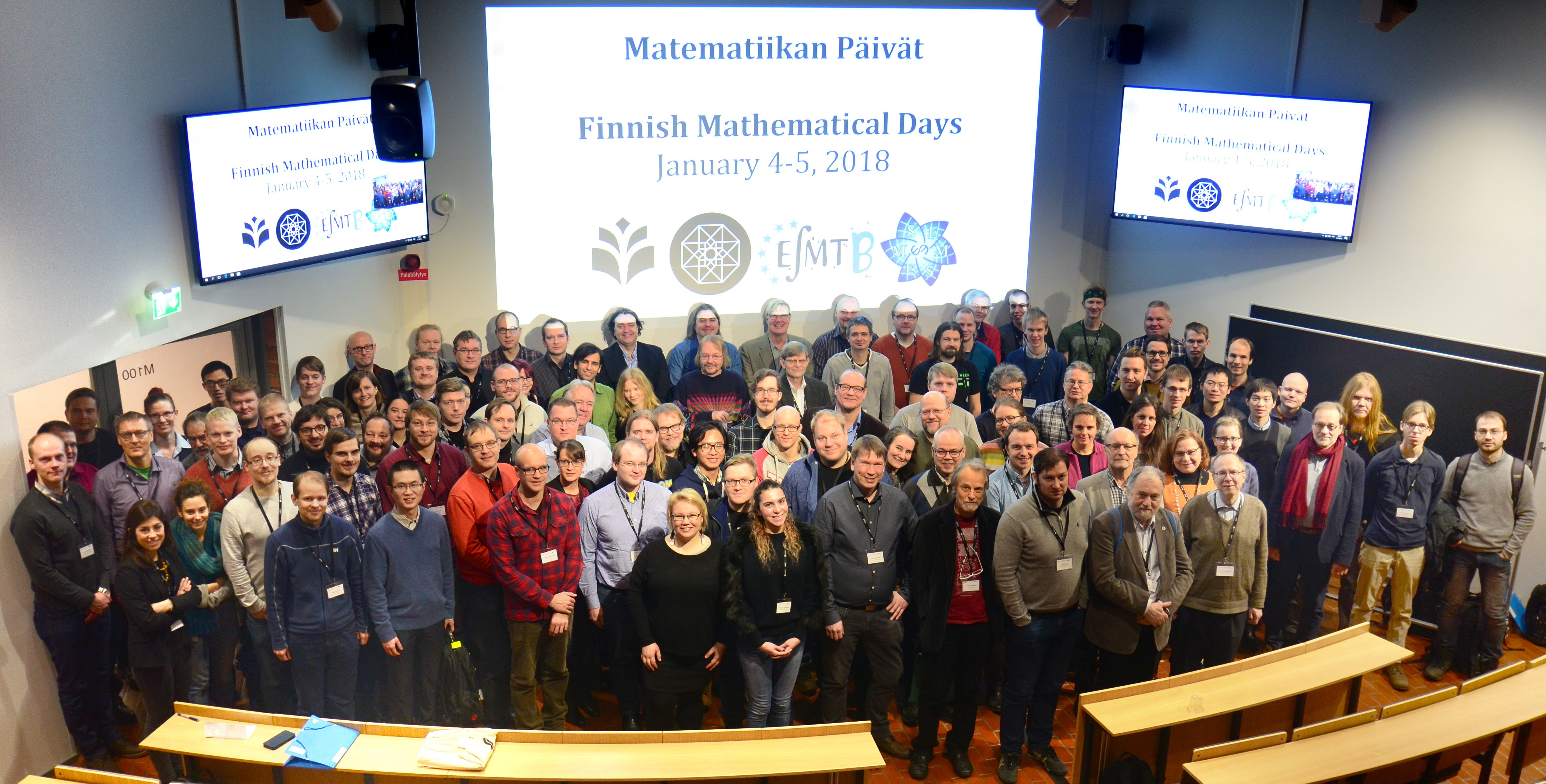 Ryhmäkuva Matematiikan päivien osallistujista Joensuussa 2018.