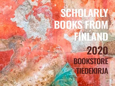 Rapistunut seinämaalaus Pompeista ja sen päälle lisätty teksti Scholarly books from Finland 2020, Bookstore Tiedekirja.