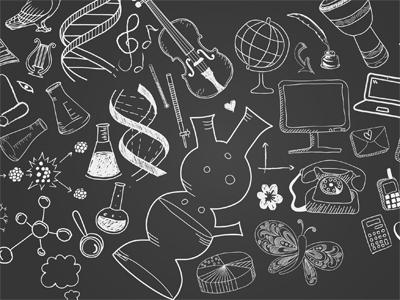 Mustalla pohjalla on paljon erilaisia kuvia ja symboleita, kuten tiimalasi, perhonen ja karttapallo.