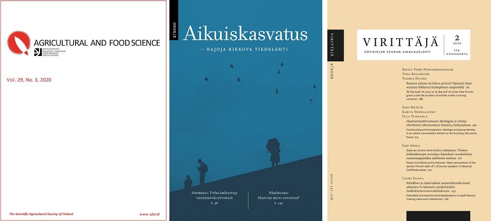 Kolmen lehden kansikuvat, Virittäjä, Aikuiskasvatus ja Agriculture and Food science.