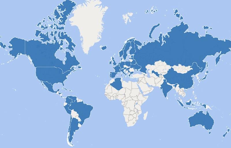 Kartta, johon merkitty maat, josita on tullut aloitteelle allekirjoituksia.