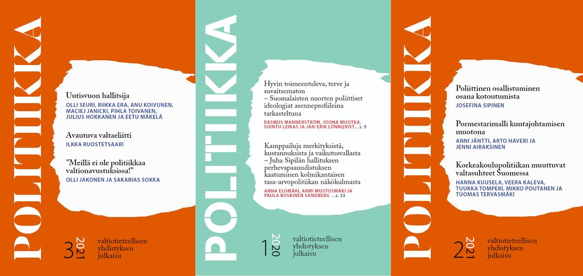 Kolmen Politiikka-lehden kansikuvat vuosilta 2021 ja 2020.