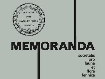 Societaksen julkaisusarjan Memoranda Societatis pro Fauna et Flora Fennica kansikuva.