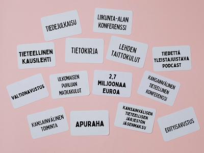 Muistilappuja, joissa lukee mm. tietokirja, 2,7 miljoonaa euroa, ulkomaisen puhujan palkkio, lehden taittokulut, tiedejulkaisu.