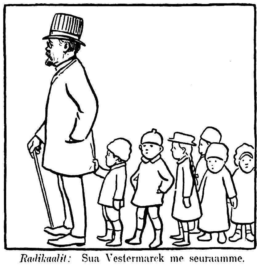 """Edvard Westermarck står först i en kö med barn bakom sig. Under bilden finns texten """"Radikaalit: Sua Vestermarck me seuraamme""""."""